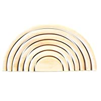 Montessori Waldorf WOODEN TOY RAINBOW STACKER Wooden toys Sculpture Building Tunnel Arches Block Stacker in Natural Eco Organic Stacking & Nesting Game Stacker Learning TOY Nesting Blocks Gift for Baby