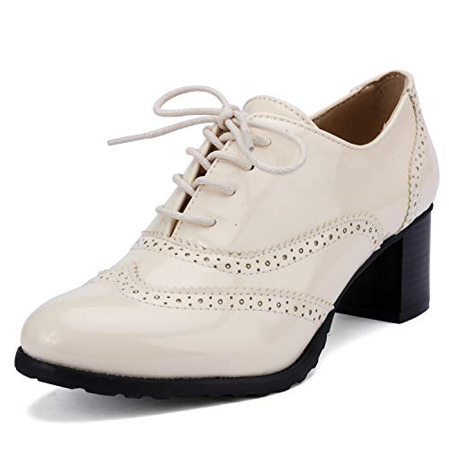 Odema Womens PU Patent Leather Oxfords Brogue Wingtip Lace Up Chunky High Heel Shoes Dress Pumps Oxfords Beige