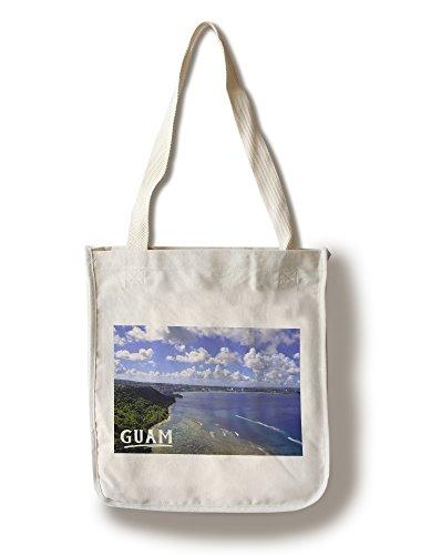 (Lantern Press Guam - Shoreline and City (100% Cotton Tote Bag - Reusable))