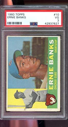 1960 Topps #10 Ernie Banks Chicago Cubs MLB PSA 3 Graded Baseball Card (Ernie Banks Card Baseball Graded)