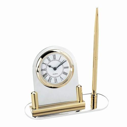 24k Gold Plate & Silver-Plated Desk Clock with Pen Stand - 24k Gold Plate & Silver-Plated Desk Clock with Pen (Silver Plated Pen Stand)