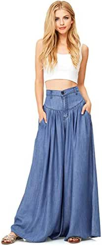 Vibrant Women's Juniors Super Wide Leg Denim Pants
