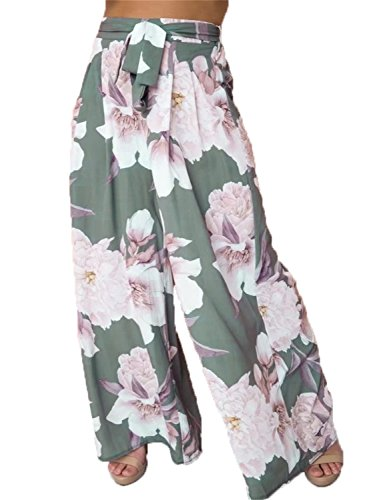 BerryGo Women's Boho High Waist Wide Leg Pants Floral Print Summer Beach Pants Print,M