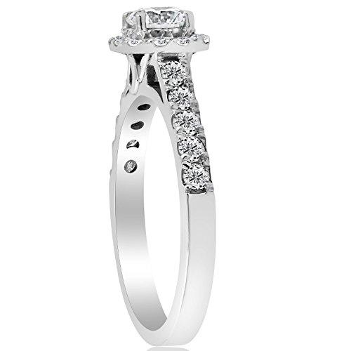 1ct Cushion Halo Diamond Engagement Ring 14K White Gold - Size 4 by P3 POMPEII3 (Image #2)