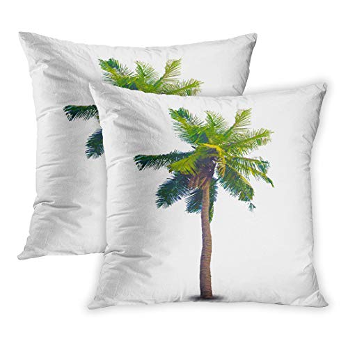 (Emvency Throw Pillow Cover Pack of 2, Green High of The Palm Tree Silhouette Tropical Beautiful Bright Coconut Home Decor Square Size 16 x 16 Inches Cushion Pillowcase)