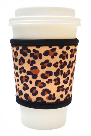 Joe Jacket Drink Insulator, Coffee Sleeve, Cup Grip, Leopard (many colors avail.)