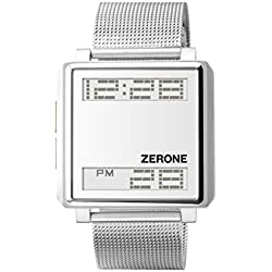 ZERONE Bsquared 3 Ultra Slim Silver Mesh Band Digital Watch