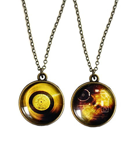 Yugen Double Sided Voyager Space Probe Gold Record Pendant Necklace