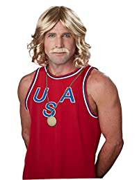 California Costumes Men's 70s Playboy Wig and Moustache, Dirty Blonde, One Size
