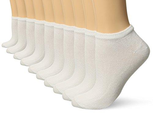 Gildan Women's Flat Knit Low Cut Socks, 10 Pairs, White, Shoe Size: 8-12 - Lightweight Low Cut Socks