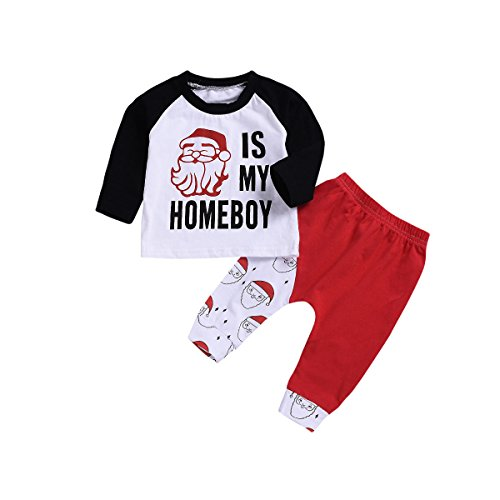 - Xmas gift Baby Girls Boys Clothes Newborn Baby Christmas Pant Set Long Sleeve T-Shirt Top+Red Pant Outfit Set