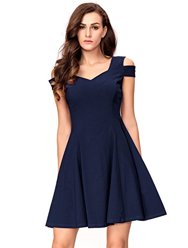 InsNova Women's Cold Shoulder Cocktail Party A-line Skater Dress (X-Small, Navy Blue)