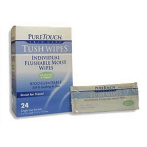 - Tush Wipes for Adults 24 Individual Flushable Moist Wipes