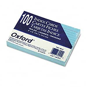 Ruled Index Cards, 4 x 6, Blue, 100/Pack