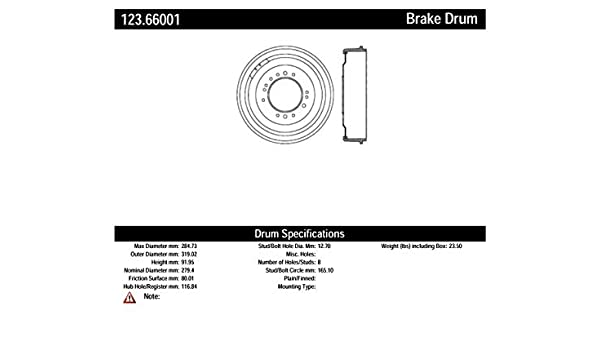 Brake Drum Front,Rear Centric 123.66001