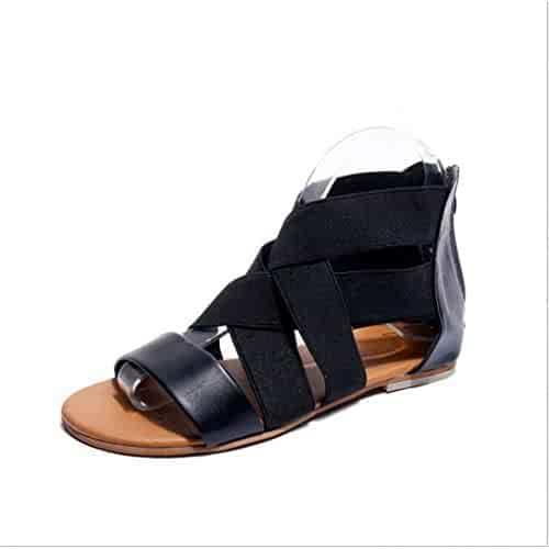 c85ef6b4493 Women s Gladiator Strappy Flat Sandals Open Toe Criss Cross Back Zipper  Soft Outdoor Casual Beach Shoes