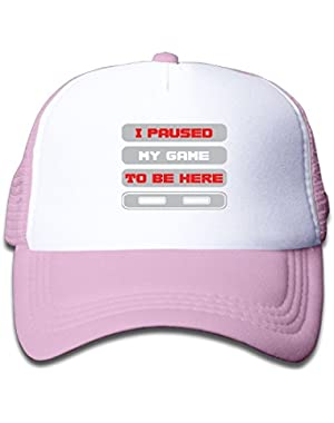 I Paused My Game Baseball Hat Adjustable Mesh Cap For Little Kid
