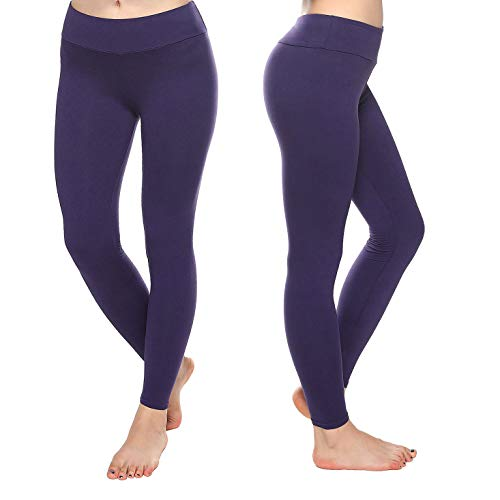 KT Super Soft Buttery Leggings - High Waisted Slimming Leggings - Womens Tummy Control Pants (Plus Size, Eggplant)