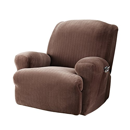 Surefit Stretch Pinstripe 1-Piece - Recliner Slipcover - Chocolate ()