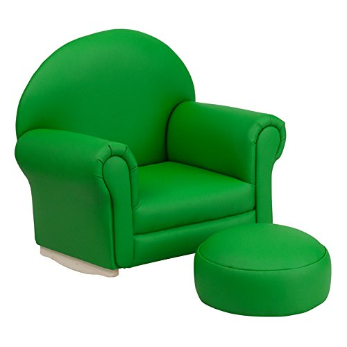 21.5'' Kids Green Vinyl Rocker Chair & Footrest (1 Set) by Miller Supply Inc