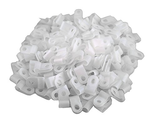 XLX 200pcs White Nylon R-Type Cable Clamp Fastener for 1/4 Inch (6.35mm) Dia Wire Tube ( Plastic Wire Cord Clip Fixer )