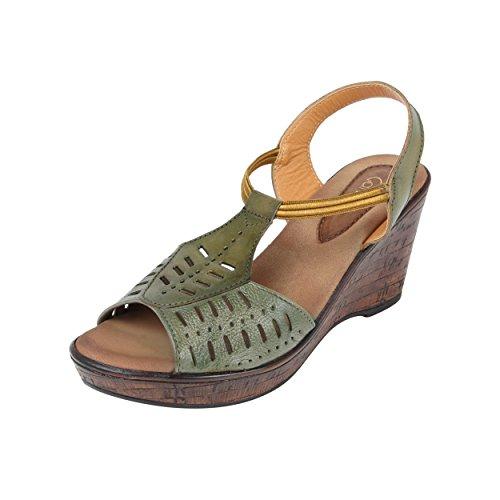 Catwalk Green Wedges Sandals for Women