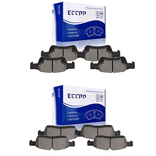 Price comparison product image ECCPP Brake Pads,  8pcs Front Rear Ceramic Disc Brake Pads Kits fit for 2011 2012 2013 2014 2015 2016 2017 2018 Dodge Durango, 2011 2012 2013 2014 2015 2016 Jeep Grand Cherokee