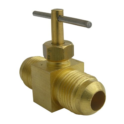 Needle Valve Brass Fitting - LASCO 17-1631 3/8-Inch Flare by 3/8-Inch Flare Straight Brass Needle Valve