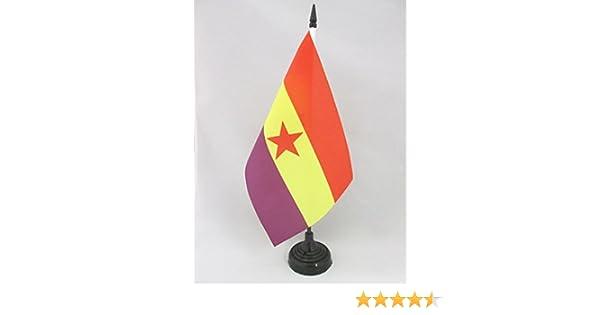 AZ FLAG Bandera de Mesa ESPAÑA Republicana Estrella ROJA 21x14cm ...