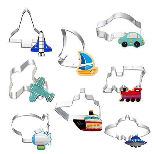(Hangnuo 8 Set Transportation Cookie Cutters Stainless Steel, Cute Cartoon Cutter Molds for Kids Birthday Decorating Biscuit Dough, Fondant, Fruit, Pizza)