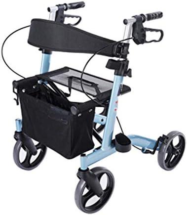 高齢者用歩行器調節可能ハンドル折りたたみ式ローラー歩行器、リハビリアルミニウム軽量折りたたみ車椅子旅行フェリー旅行ポータブル高齢者向