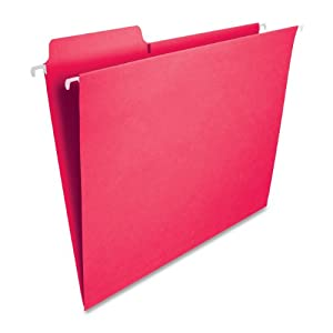 Smead FasTab Hanging File Folder, 1/3-Cut Built-In Tab, Letter Size, Red, 20 per Box (64096)
