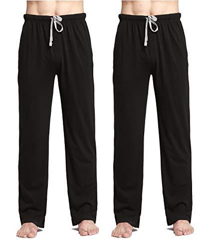 Large Pajama Lounge Pants - CYZ Comfortable Jersey Cotton Knit Pajama Lounge Sleep Pants-Black2PK-L