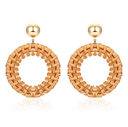 - BSJELL Rattan Hoop Earrings for Women Handmade Woven Straw Braid Wicker Earring Gold Disc Stud Geometric Dangle Earrings Lightweight Jewelry (Circle)