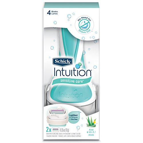 Schick Intuition Sensitive Care Razor for Women  with 2 Moisturizing Razor Blade Refills with Natural Aloe