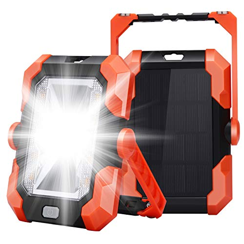 Leolee LED Baustrahler Akku, LED Arbeitsleuchte Campinglampe, Solar USB Wiederaufladbares Batterie Powerbank, Magnet…
