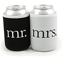 Bridal Shower Gifts - Mr and Mrs Wedding Beer Can Coolers - Premium 4mm Thick Easy-On Supercoolies™ (Black and White) Set of 2