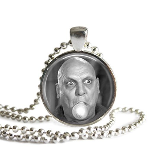 1 Light Parlor Pendant (Uncle Fester 1 inch Silver Plated Picture Pendant Necklace)