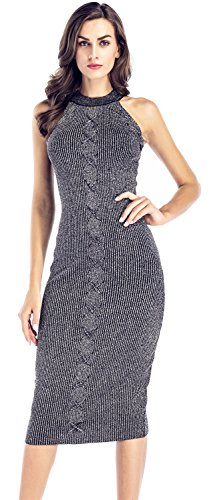 Arctic Cubic Sexy Sleeveless High Mock Neck Cable Stitch Ribbed Rib Knit Midi Bodycon Sweater Dress Grey M ()