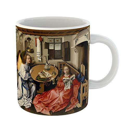 Emvency Funny Coffee Mug Annunciation Triptych By Workshop of Robert Campin 1427 32 Northern Renaissance 11 Oz Ceramic Coffee Mug Tea Cup Best Gift Or Souvenir]()