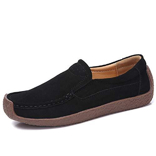 Gran Zapatos Mujeres Negro Azul de EU 41 Color Mocasines de Qiusa tamaño Cuero cómodos tamaño wt0vq