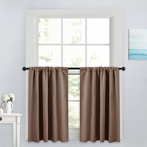 PONY DANCE Window Treatment Tiers - Blackout Rod Pocket Curtains Home Decor Energy Saving Small Drape Valances for Kitchen/Living Room, 42-inch W x 36-inch L, Taupe, Pack-2
