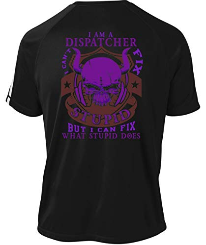 Father Shirt-I Can Fix What Stupid Does Dry Zone Crew, I Am A Dispatcher T Shirt-Colorblock Crew (M, Black)