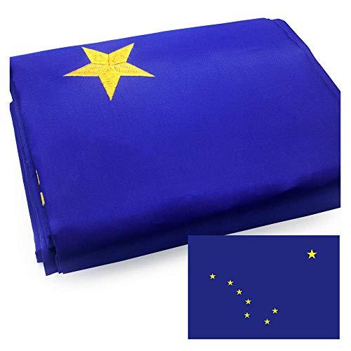 VSVO Alaska Flag 3x5ft. with Double Sided Embroidered Stars UV Protected, Long Lasting Nylon US AK - Flag Alaska