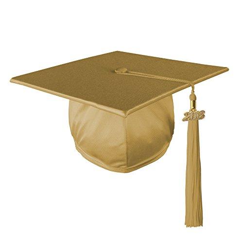 Class Act Graduation Graduation Shiny Mortar Board Cap and Matching 2018 Tassel- Old Gold