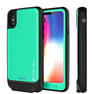 PunkJuice iPhone X Battery Case, Waterproof IP68 Certified Prime Charger Cover W/ Built-In Screen Protector[Ultra Slim]Fast Charging & Protective 3600mAh Power Juice Bank for Apple iPhone 10 [Teal]