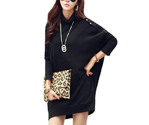 Coolred Women Spring Sleeve Batwing Dress Party Casual Midi Bat Long Plus Sleeve Size Club Black qHCpaRqwx