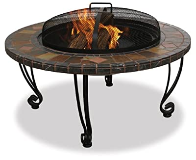 Endless Summer, WAD820SP, 34 in. Slate & Marble Firepit with Copper Accents