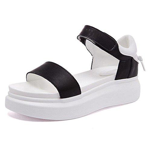 mujeres de las sandalias de punta abierta de palabras salvaje zapatos de hebilla de la corteza gruesa sandalias de playa Sra desgaste externo Black