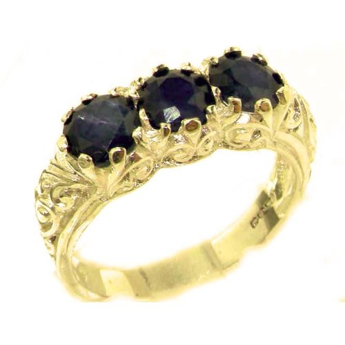 14k Yellow Gold Natural Sapphire Womens Trilogy Ring - Sizes 4 to 12 (Gold Sapphire Estate Ring)